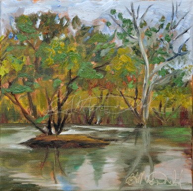 "Malden Park Pond, 8""x8"" oil on stretched canvas in private collection"