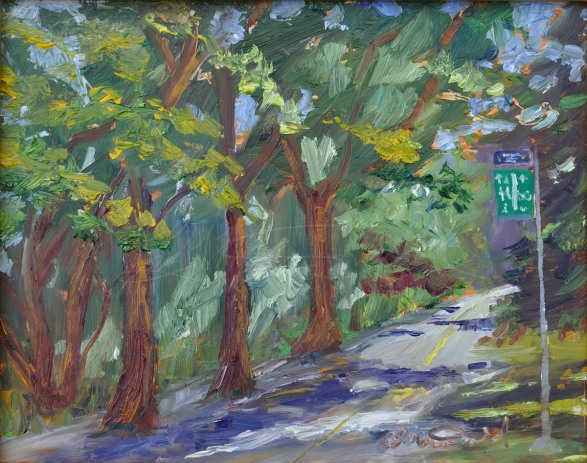 Joggers Dream 8 x 10 Oil on panel. Green Lake, Seattle, Wa. — at Green Lake Park. Sold!