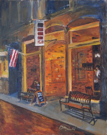 Dexter Nightlife, Plein Air Commission. 8 x 10 Oil on panel. Sold