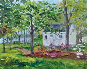 Azalea Heaven, Park House, Amherstburg, On. 8x10 oil on Ampersand Museum panel. $275. framed.