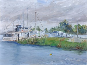 Chance Encounters of the Marine Kind at Gil Maure Park, LaSalle, On. 9 x 12  Oil on Canvas panel. $350 framed.