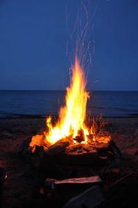 No trip to the cottage is complete without a good campfire.  One on the beach is the best!