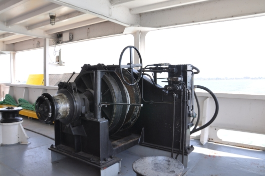 OOps!  Ship's hand chased us out of here, but not before I got this great photo of a huge winch.  They need better signage!
