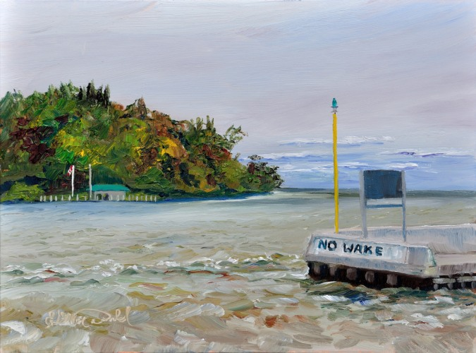 No Wake, Plein Air 9 x 12 oil on Ampersand Gessobord $350. framed SOLD in less than 24 hours!