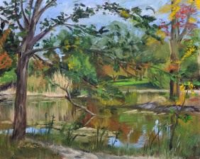Turning at Ojibway. 8 x 10 oil on ampersand gesso bord Sold