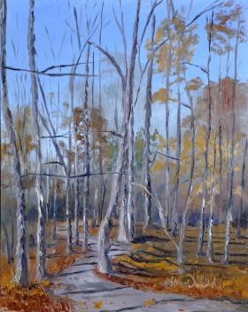 Shagbark Hickory Afternoon Shadows; McAuliffe Park, Tecumseh 8 x 10 Oil on Ampersand Museum Gessobord $275 framed