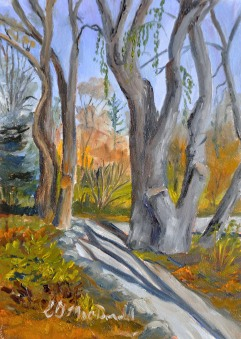 Noon Sun at Lakeside 5 x 7 Oil on Ampersand Museum Gessobord $175 framed