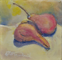 "Pear Study, Still life, Oil on 4"" x 4"" x 1"" gallery wrap stretched canvas. Limited pallette, 3 primaries and white. $75. no frame required"