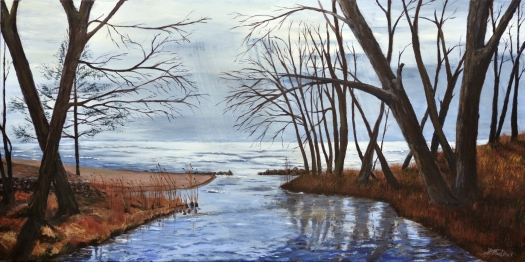 Hands Across the Water, 24 x 48 Acrylic on Canvas. Sold at Nancy John's Gallery Juried Exhibition 24x48